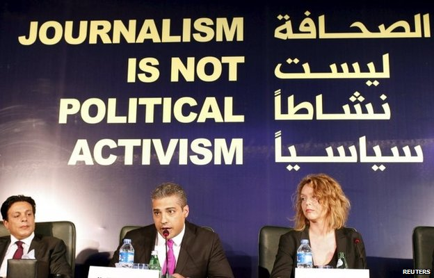 Mohamed Fahmy addresses a news conference in Cairo (11 May 2015)