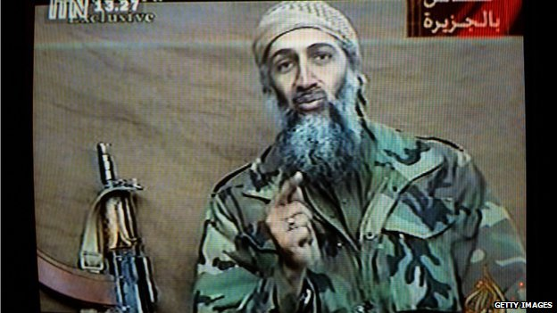 Osama Bin Laden delivers on a recorded message.