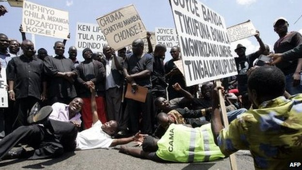 Protesters in Malawi - October 2013