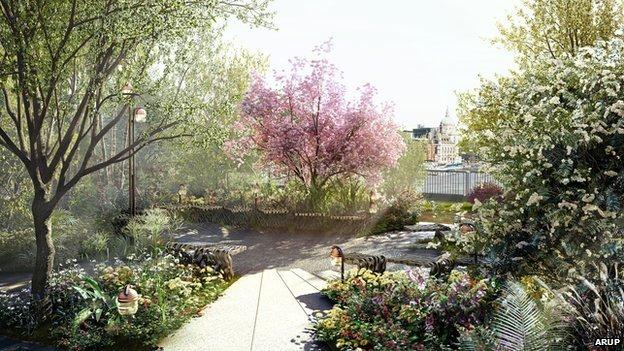 An image of finished garden bridge
