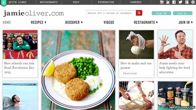 Jamie Oliver's website front page