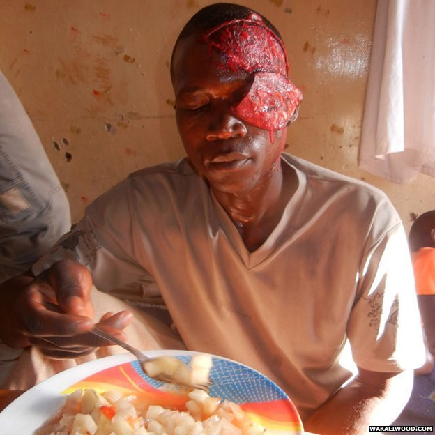 An actor has lunch in full horror make-up
