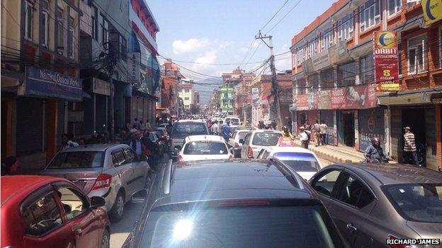 Roads jammed in Kathmandu