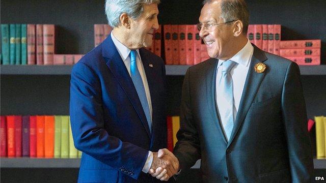 US Secretary of State John Kerry and Russian FM Sergei Lavrov