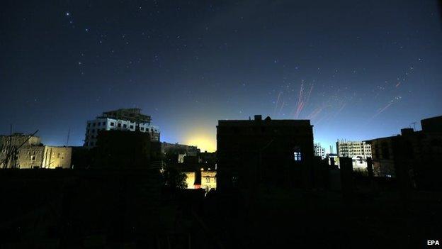 The sky above Sanaa is illuminated by anti-aircraft gunfire (12 May 2015)
