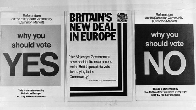 Yes and No pamphlets in 1975 EU referendum