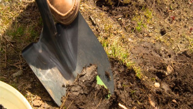 Digging up soil