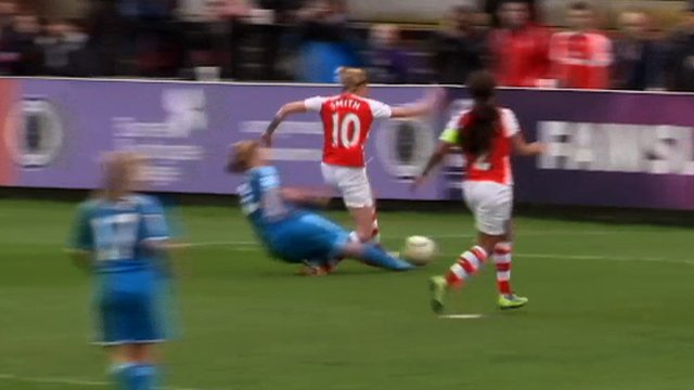 Arsenal's Kelly Smith is tackled