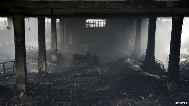 A view of a gutted footwear factory in Valenzuela, Metro Manila in the Philippines on 14 May 2015.