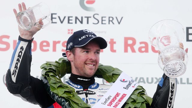 Alastair Seeley celebrates after clinching his 13th career North West 200 victory on Thursday evening