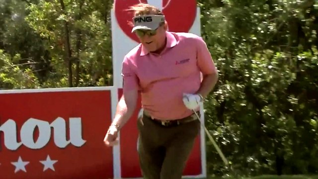 Miguel Angel Jimenez dances in celebration after getting a hole-in-one