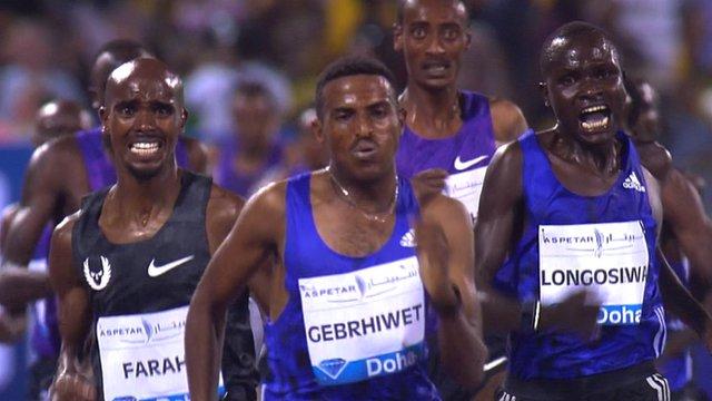 Mo Farah beaten by Hagos Gebrhiwet in 3000m