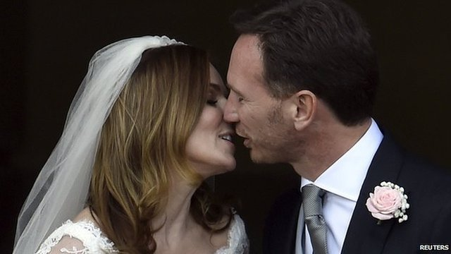 British singer and former member of the band Spice Girls, Geri Halliwell, and her husband, Christian Horner, Red Bull Formula One team principal, kiss following their wedding in Woburn