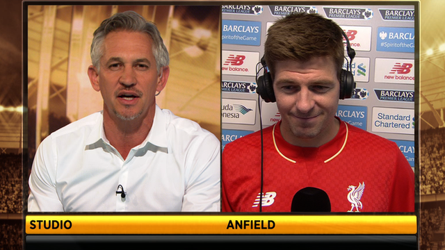 Steven Gerrard spoke to Gary Lineker after his final appearance at Anfield