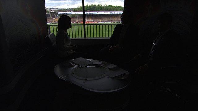 BBC Sport's Tanya Arnold and pundits Jamie Peacock and Jon Wilkin