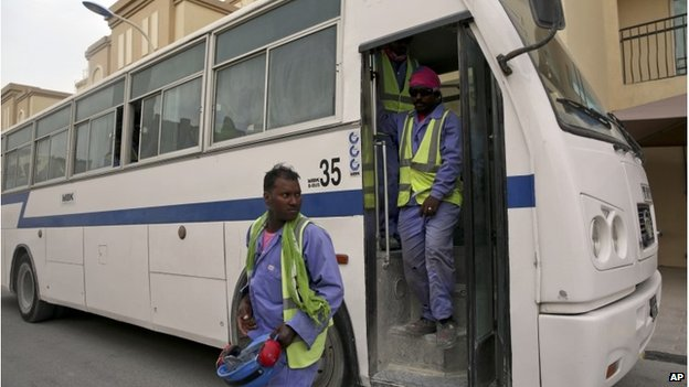 Workers are now taken to shifts in buses, not lorries