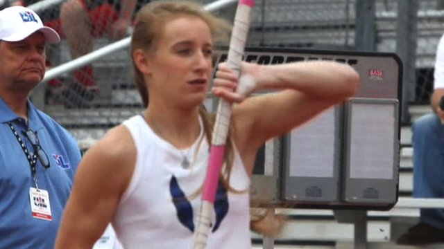 Blind pole vaulter Charlotte Brown