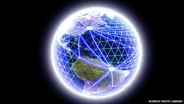 Graphic representing global communications