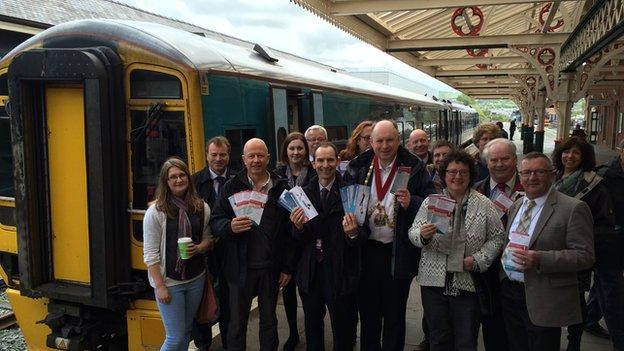 Lansiad trenau Aberystwyth