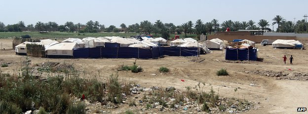 Tents housing families who fled the city of Ramadi after it was seized by Islamic State (IS) group militants in Bzeibez, on the south-western frontier of Baghdad with Anbar province, on 18 May 2015