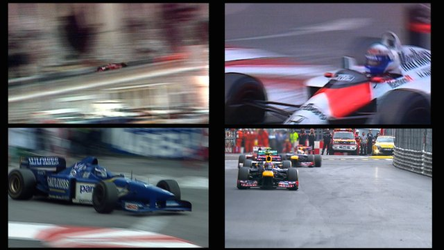 A split-screen view of the Monaco Grands Prix in 1981, 1988, 1996 and 2012