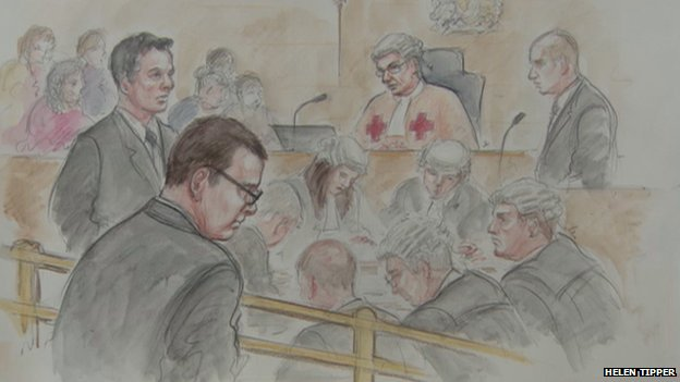 Artist's impression of Andy Coulson at High Court in Edinburgh