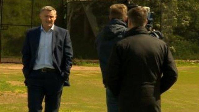 Tony Mowbray faces the cameras at Coventry's Ryton training ground
