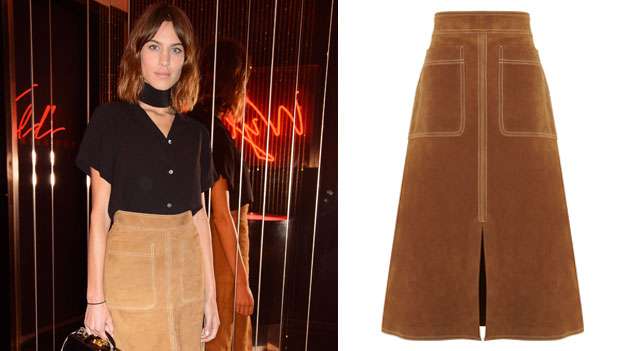 Alexa Chung in her skirt, with the Marks and Spencer website image of the same item