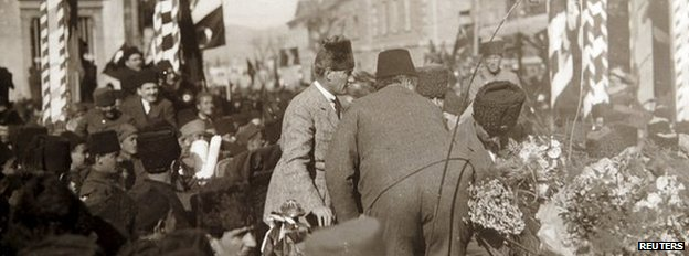 Turkey's first President Mustafa Kemal Ataturk (centre) is seen in Izmir, Turkey, after the modern Turkish Republic was founded in 1923