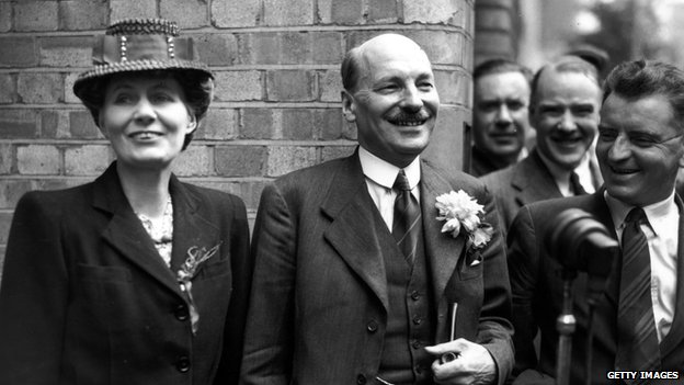 Clement Attlee and his wife Violet after Labour's general election victory