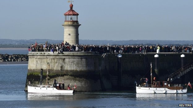 "Crowds watch from the harbour wall as ""Little Ships"" begin their journey across the English Channel"