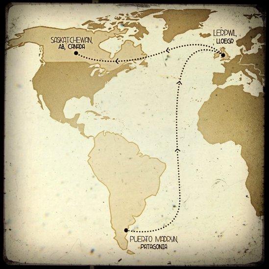 Map: O Batagonia i Saskatchewan