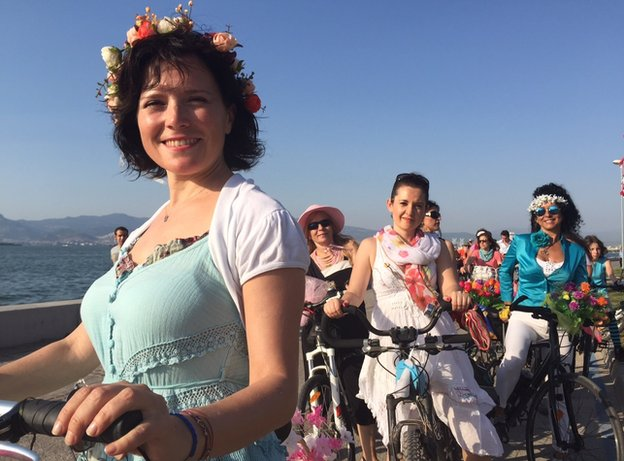 Members of Izmir's all-female cycling group