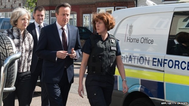 David Cameron and Home secretary Theresa May with immigration enforcement officers