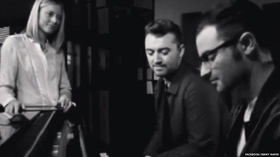 Sam Smith working in the studio with Jimmy Napes