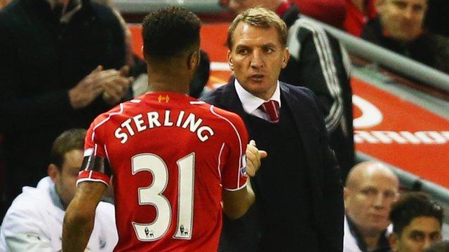 Liverpool's Raheem Sterling and Brendan Rodgers