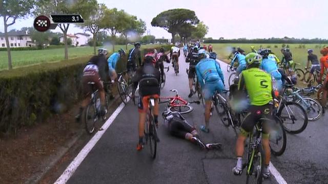 A mass crash on stage 13 of the 2015 Giro d'Italia