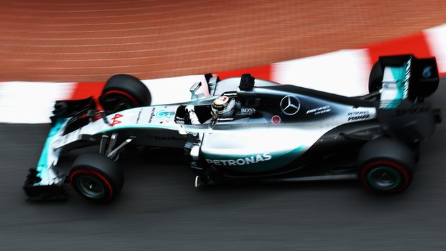Lewis Hamilton drives in qualifying for the Monaco Grand Prix