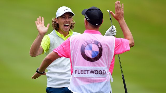 England's Tommy Fleetwood celebrates albatross