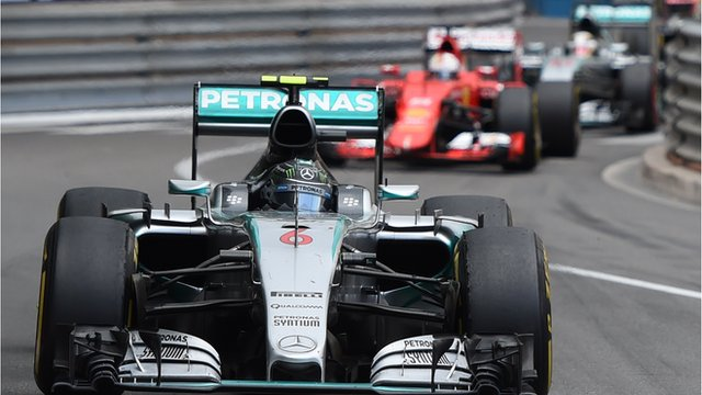 Nico Rosberg leads Sebastian Vettel and Lewis Hamilton at the Monaco Grand Prix