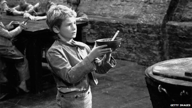 Mark Lester as Oliver Twist asking for some more gruel