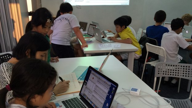 Kids at a computer programming learning centre