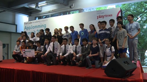 Participants at an app making competition in Hong Kong