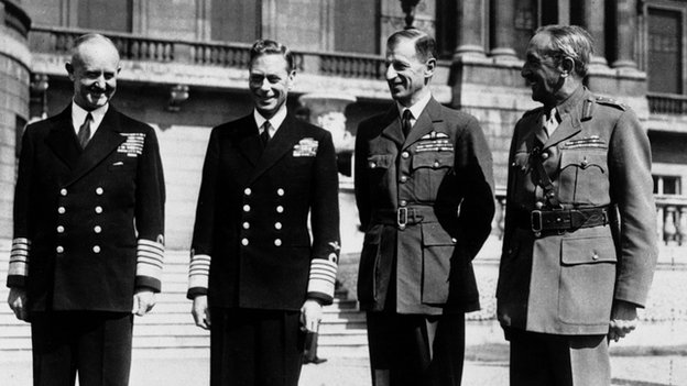 Sir Andrew Cunningham; King George VI, Sir Charles Portal and Field Marshal Alan Brooke