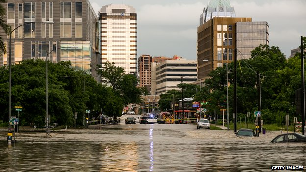 Parts of the city are shown inundated after days of heavy rain on 25 May 2015 in Austin