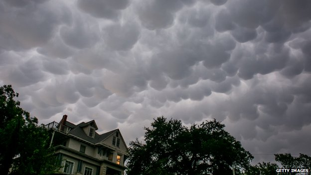 The sky looks ominous after days of heavy rain on 25 May, 2015 in Austin, Texas