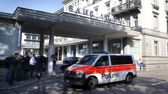 Police van outside the Baur au Lac hotel, Zurich