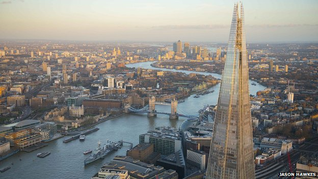 Aerial view of London and the Shard