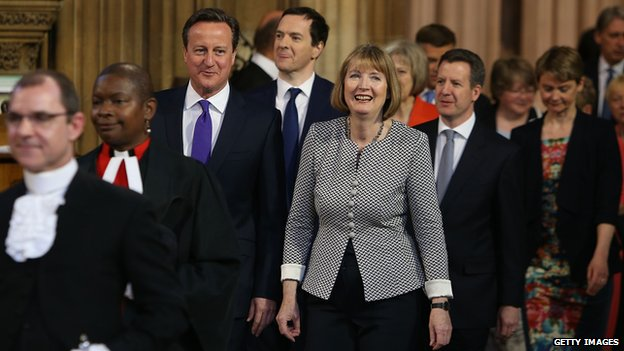 David Cameron, Chancellor of the Exchequer George Osborne and acting leader of the Labour Party, Harriet Harman