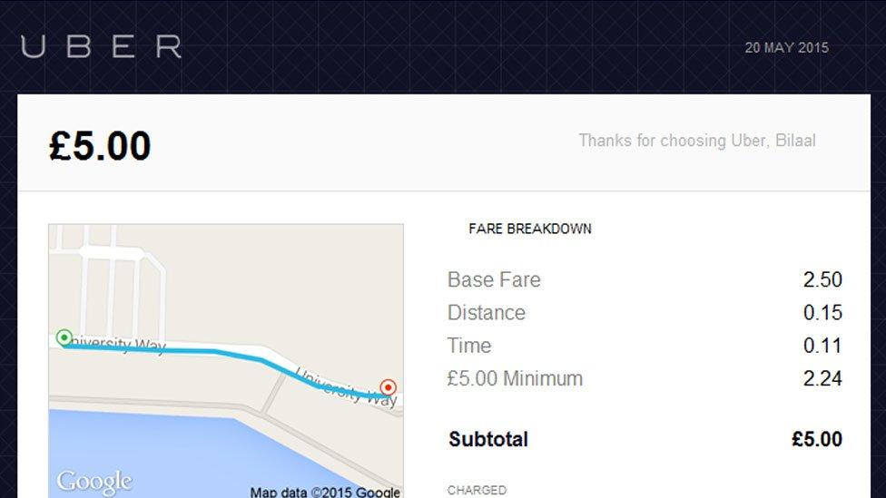 Uber fare page